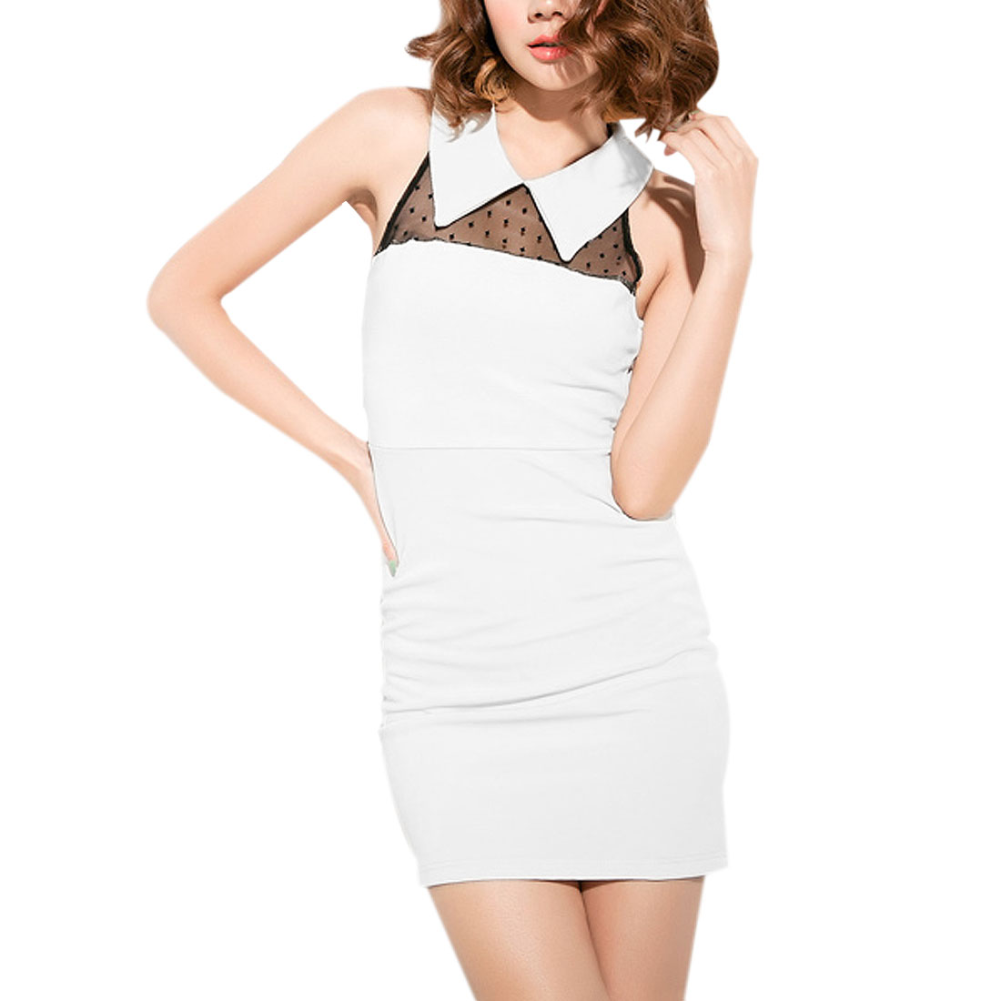 White Zipper Closure Sleeveless Semi Sheer Formfitting Summer Mini Dress for Ladies XS