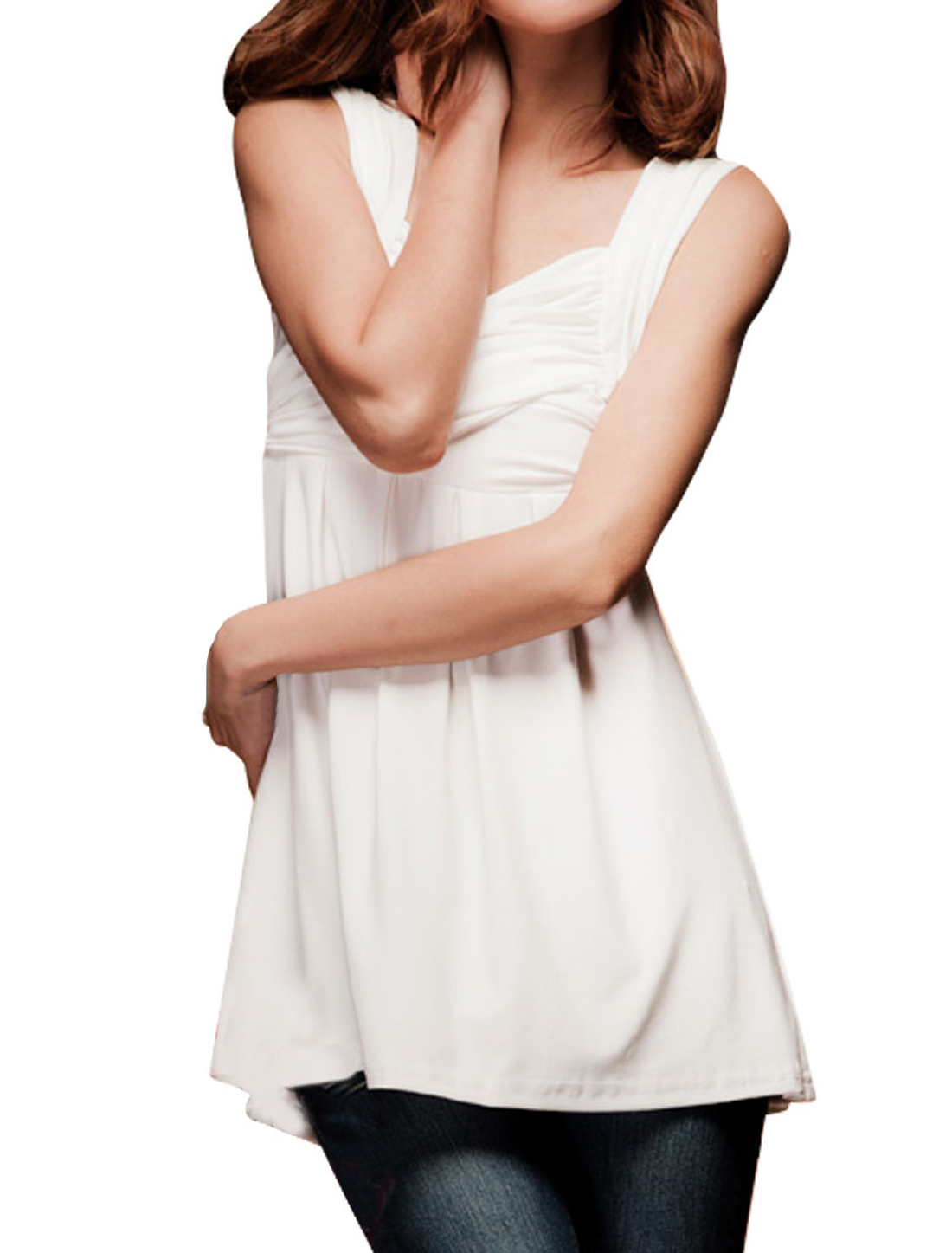 Women Sweetheart Collar Ruffled Cross Front Tank Shirt White XS