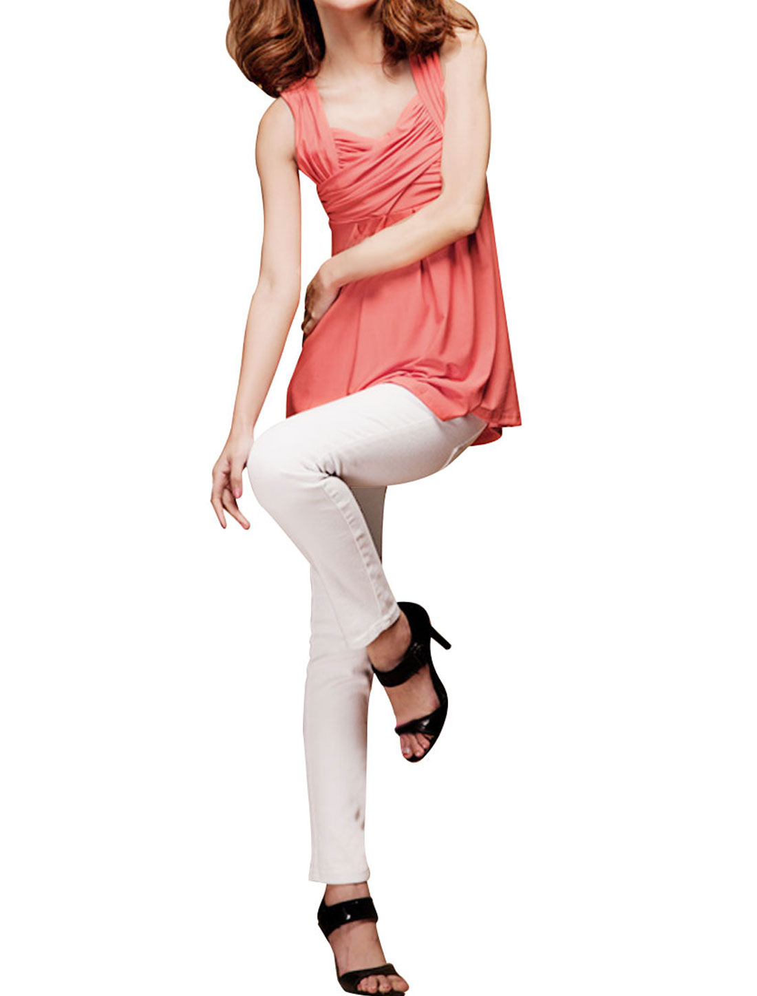 Woman Watermelon Pink Sweetheart Collar Cross Pleated Front Tank Shirt XS