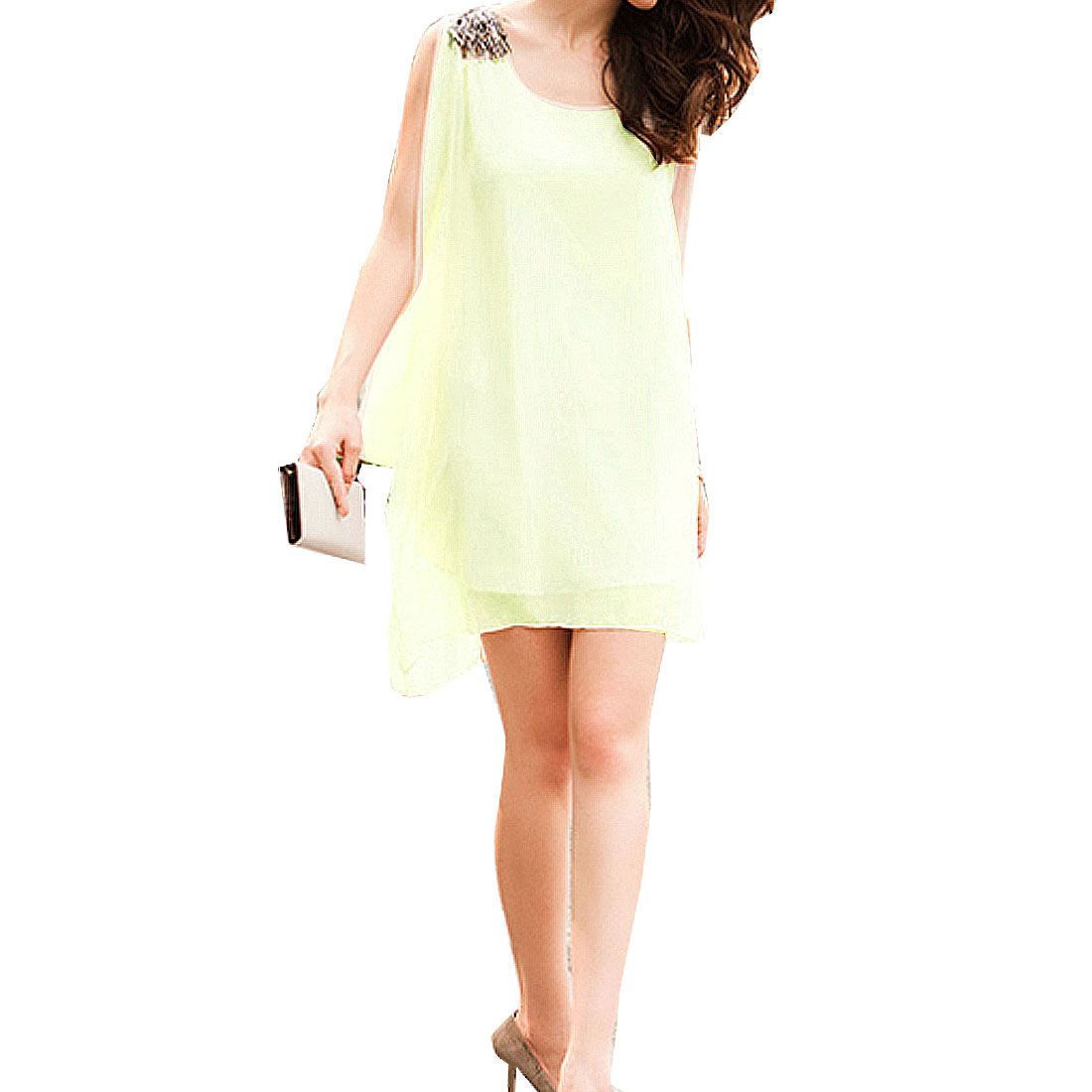 Light Beige Lining Beads Decor Shoulder Knee-length Chiffon Dress for Ladies XS