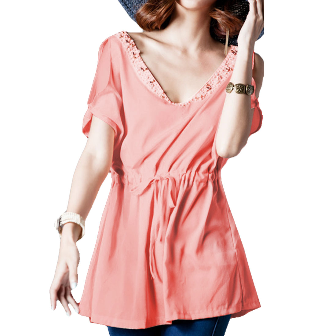 Pink Batwing Sleeve Plastic Bead Decor Front Off Shoulder Blouse Tops for Women S