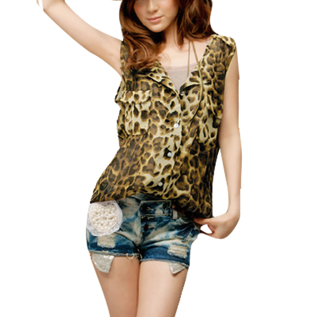 XS Black Brown Leopard Pattern Round Neck Sheer Top for Women