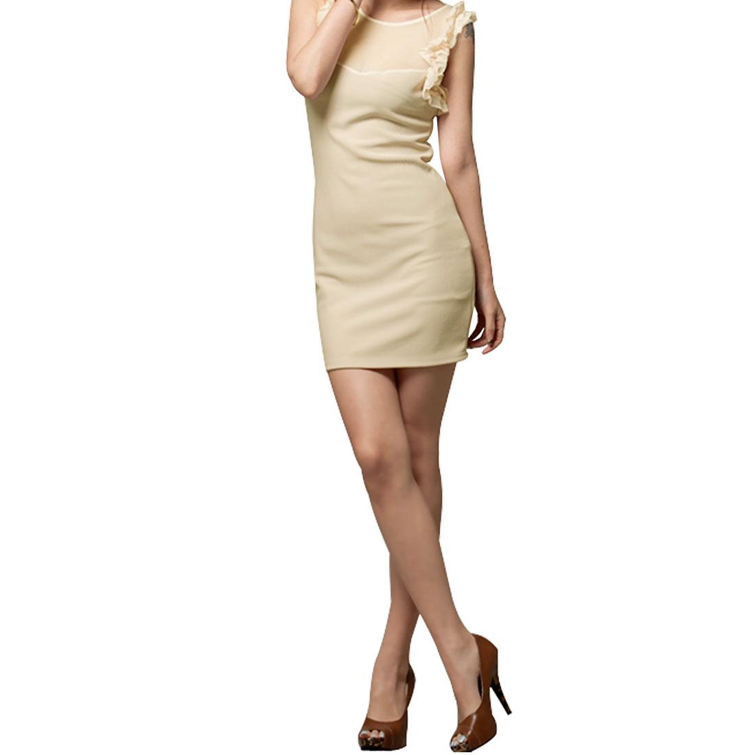 S Beige Mesh Front Design Sleeveless Mini Dress for Ladies