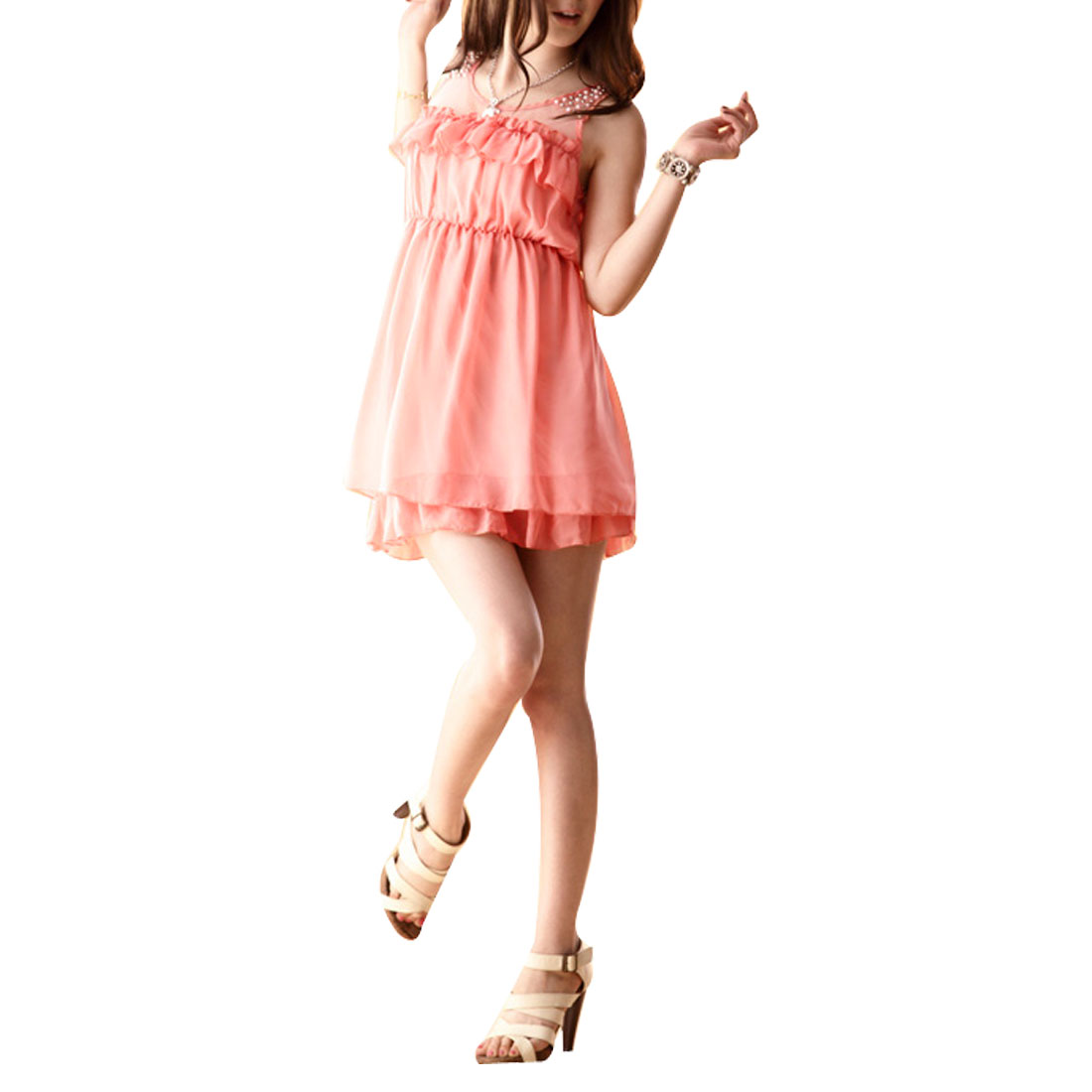 XS Plastic Beaded Detail Ruffled Hem Mini Dress Peach Pink for Woman