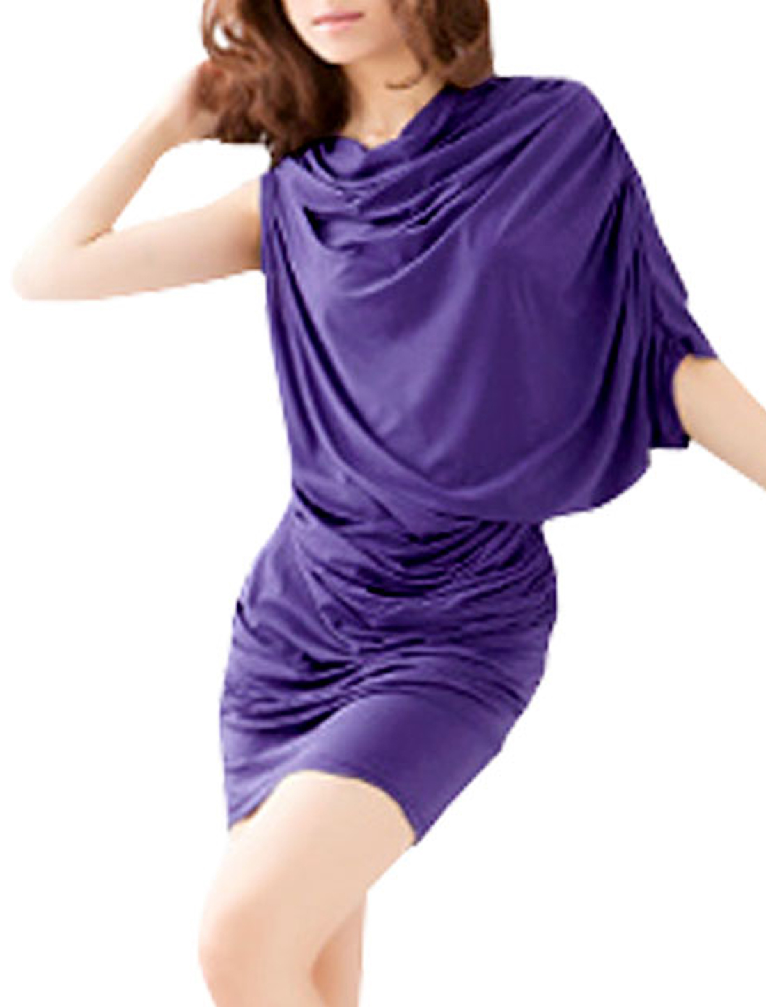 Women Cowl Neck Single Batwing Sleeve Hip Hugging Mini Dress Purple XS