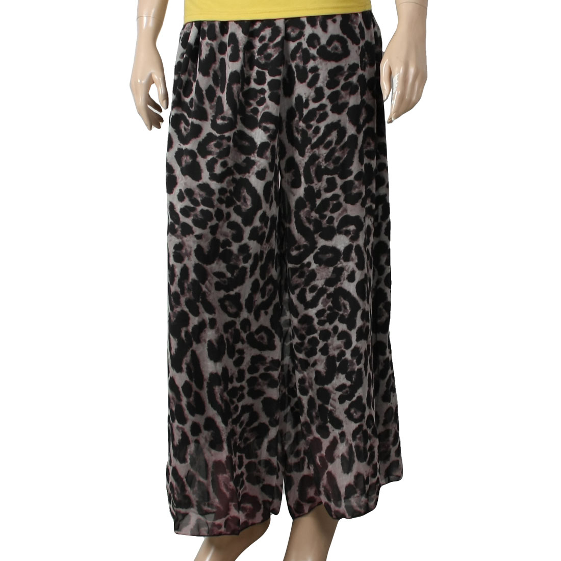 Women Stretchy Waist Leopard Pattern Palazzo Pants Gray XS