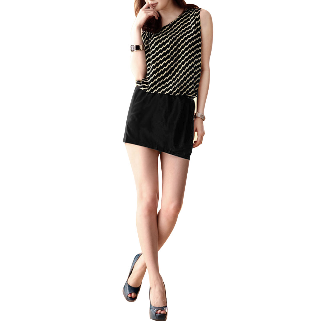 Ladies Black Sleeveless Zigzag Line Pattern Elastic Waist Summer Tank Mini Dress XS