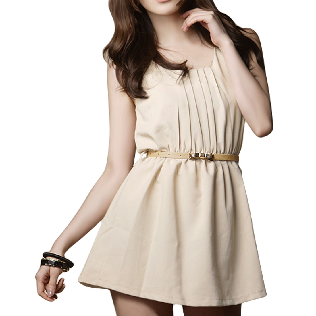 Women Apricot Scoop Neck Pleated Front Tank Mini Dress XS