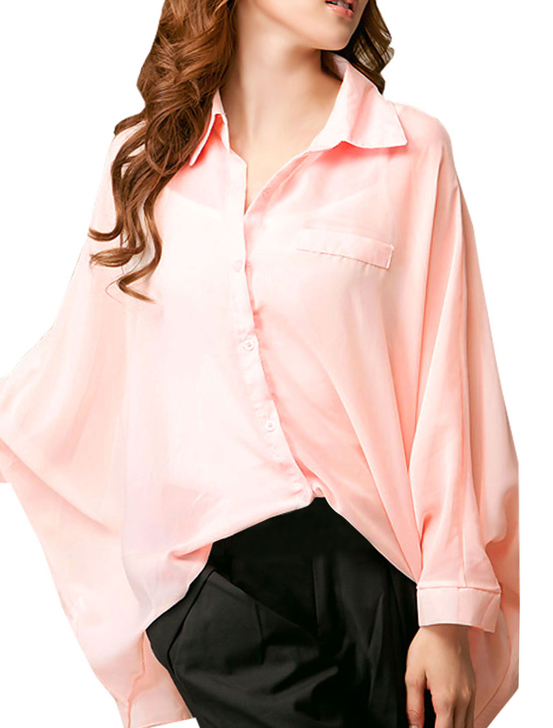 XS Long Batwing Sleeve Point Collar Pink Chiffon Shirt for Women