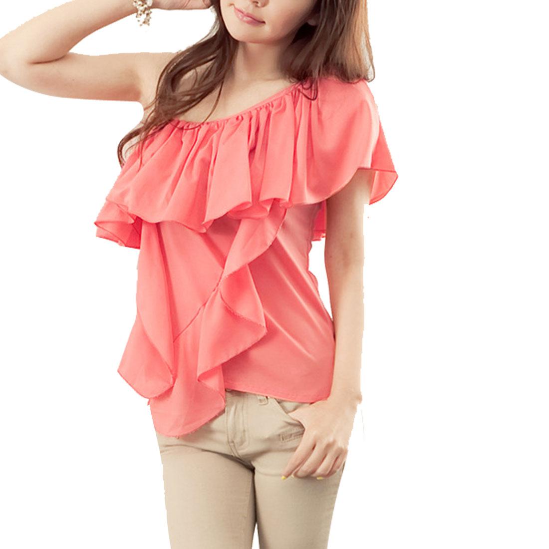 Woman Single Chain Strap Watermelon Pink Chiffon Shirt XS