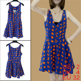 Ladies Blue Orange V Neck Sleeveless Hidden Side Zipper Novelty Prints Mini Dress XS