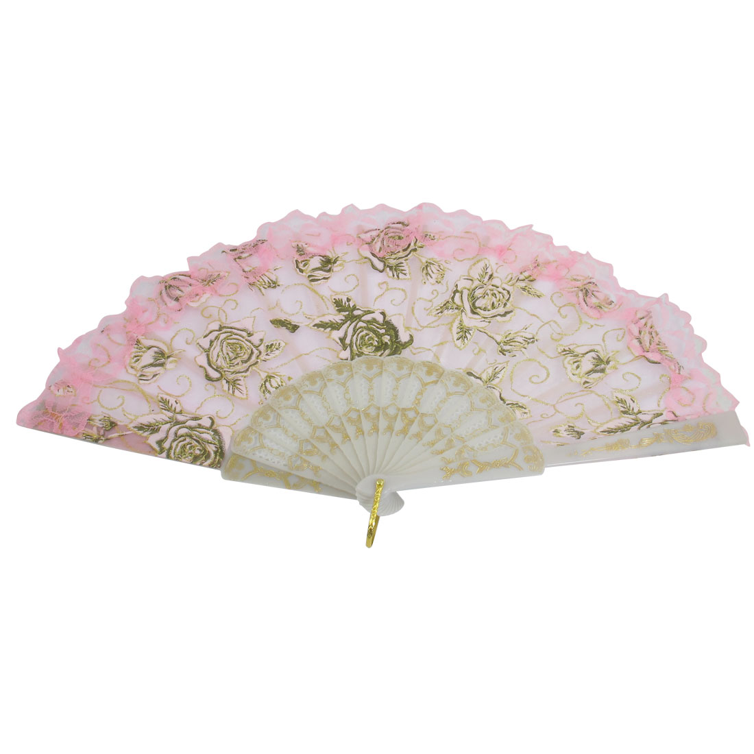 Peony Print Pink Plastic Frame Dance Foldable Hand Fan