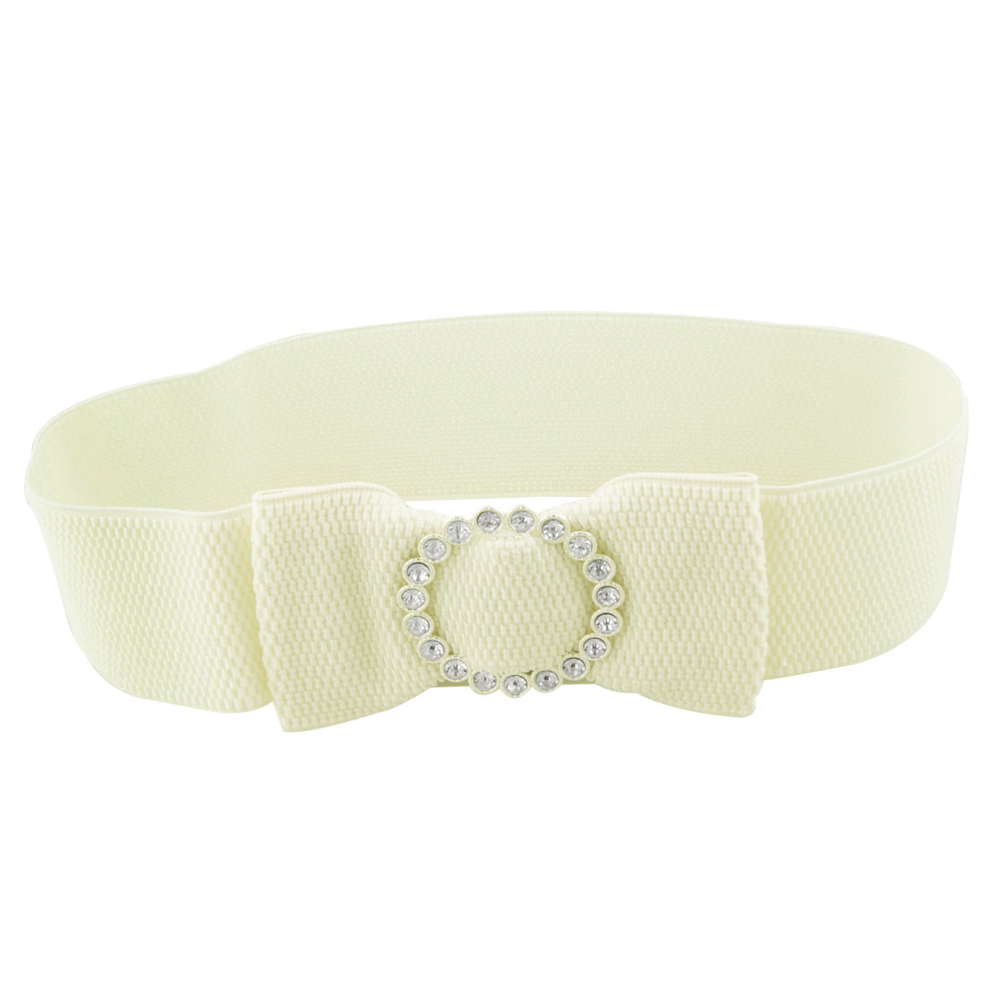 "Woman Beige Bowknot Detailing 2.4"" Wide Elastic Cinch Band Belt"