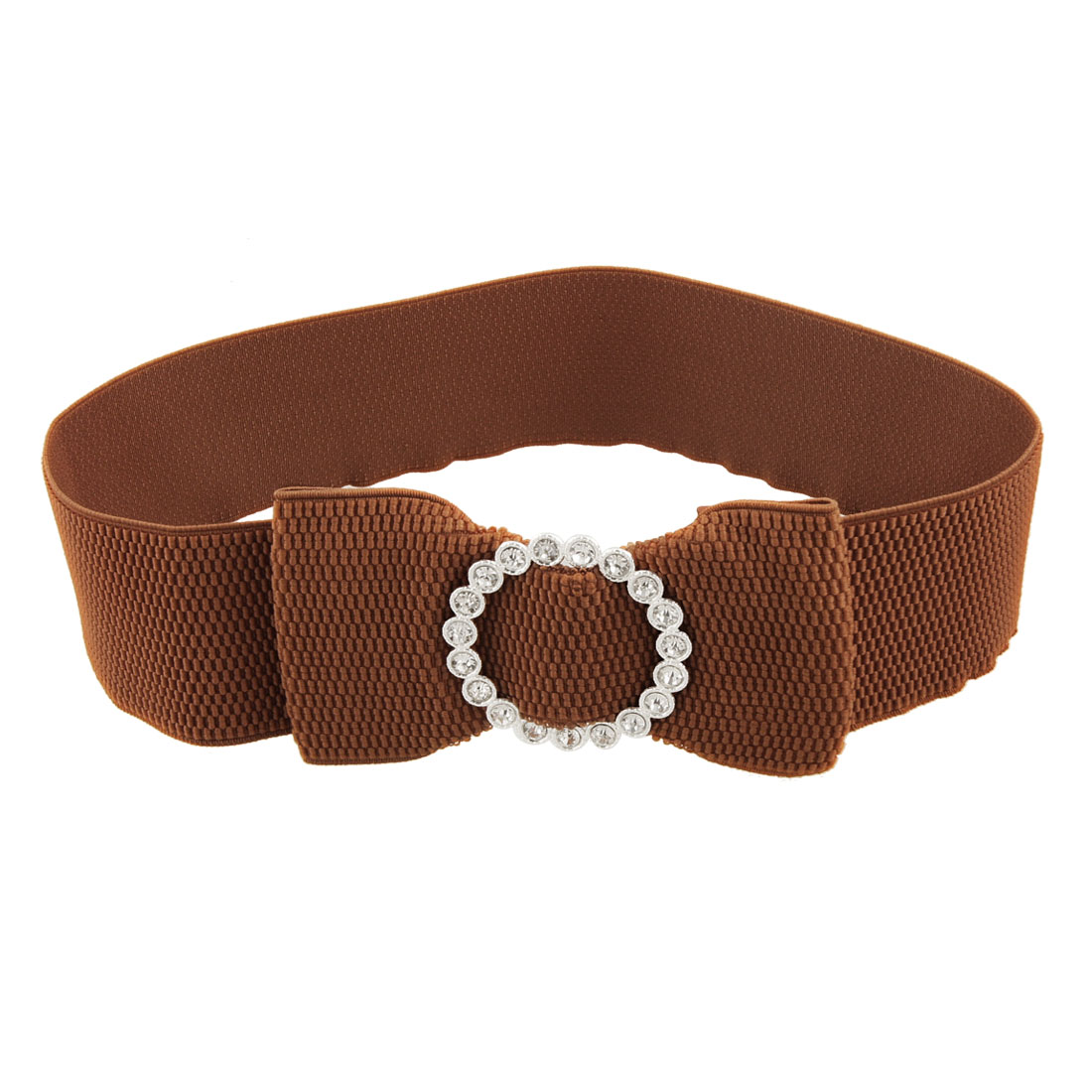 Rhinestone Accent Bowknot Brown Wide Stretchy Belt for Ladies