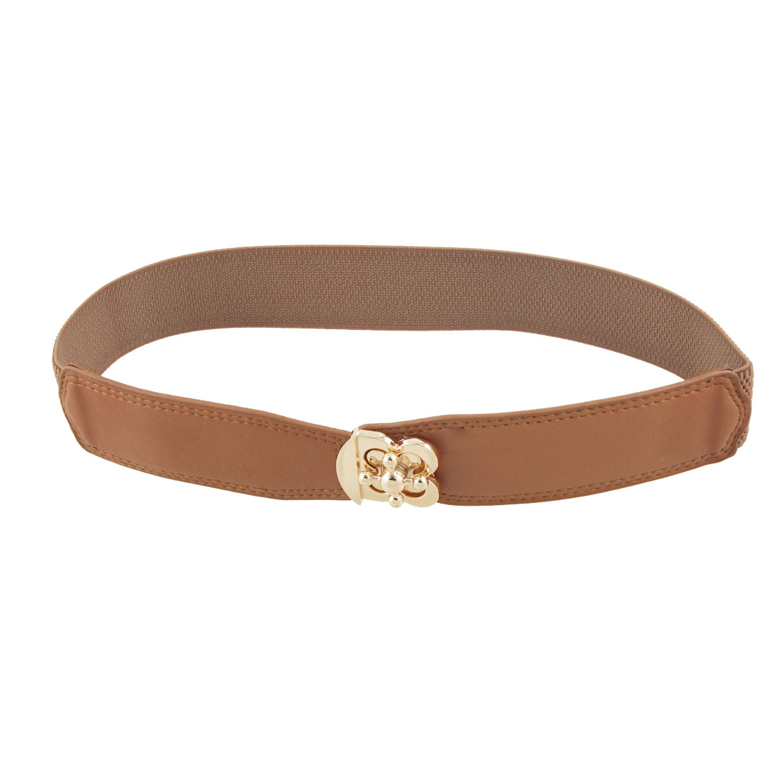 Woman Gold Tone Flower Turn Lock Buckle Brown Elastic Cinch Belt
