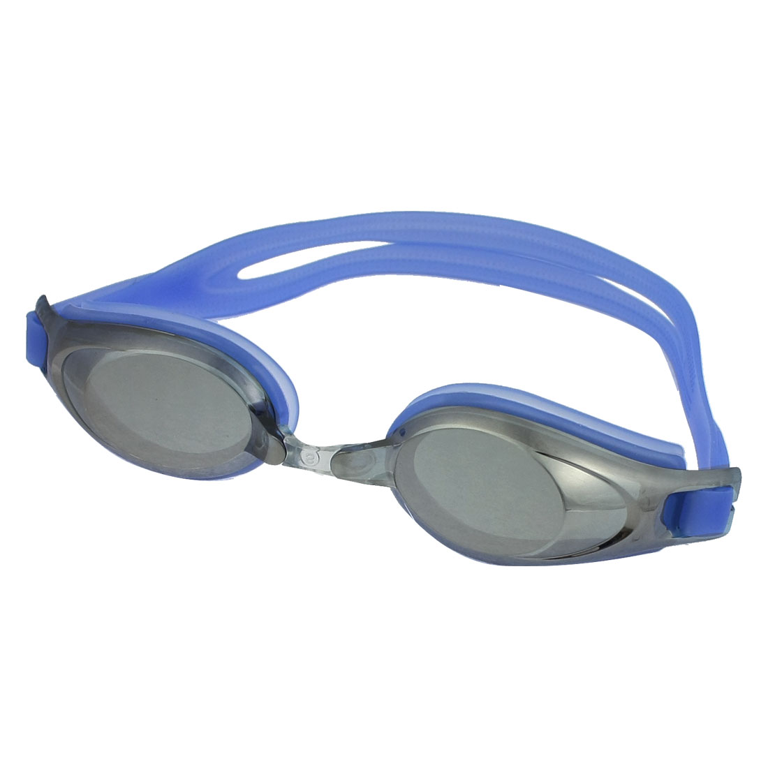Adjustable Band Replaceable Bridge Blue Silicone Swimming Goggles for Adults