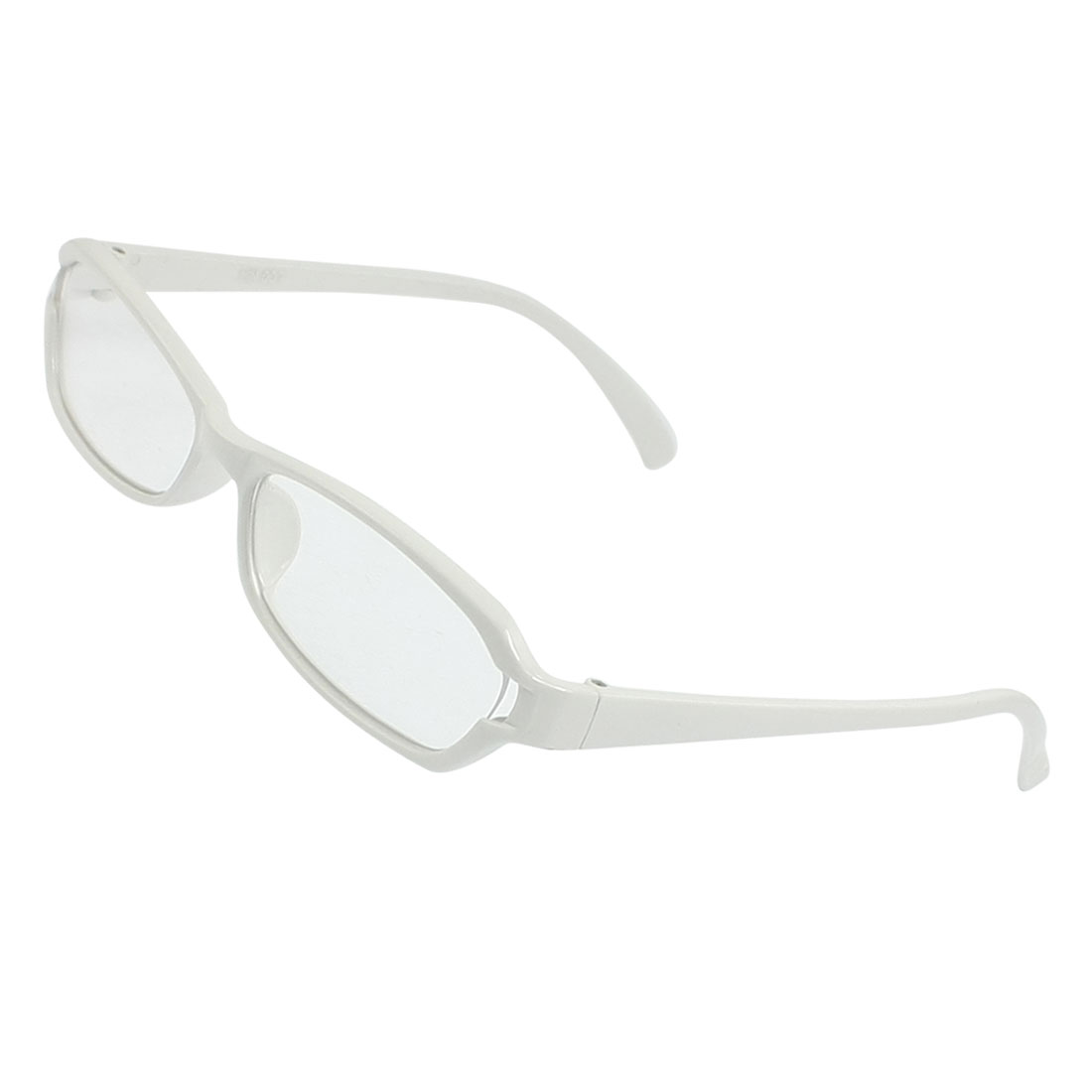 White Full Frame Rims Rectangle Clear Lens Plain Glasses for Man Women