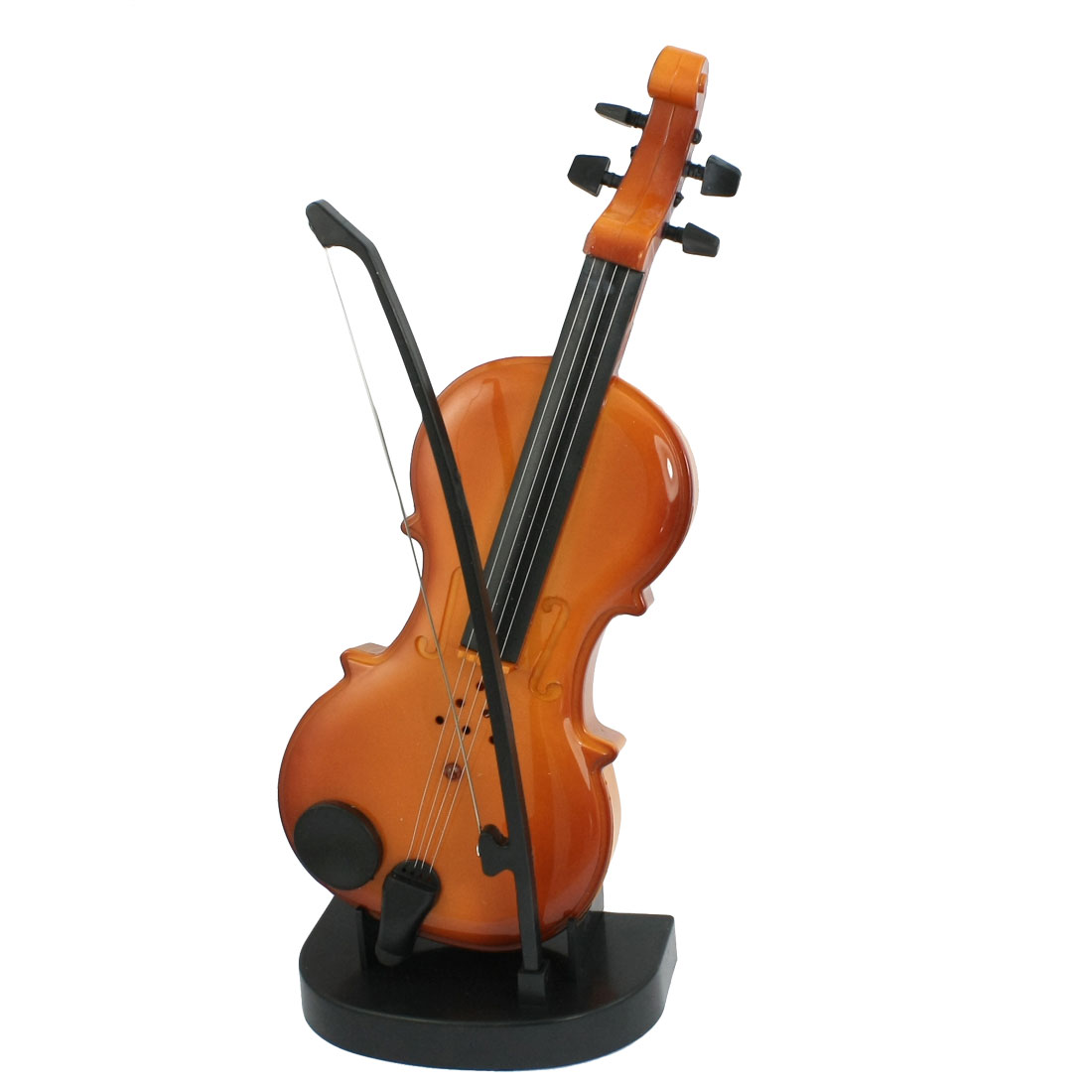 Children Kids Plastic Stand Bow Stick Battery Power Mini Music Violin Toy Brown