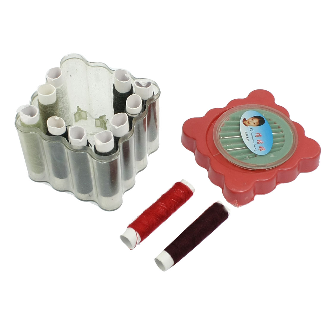 12 Pcs Colorful Thread Spools Needles Sewing Set w Plastic Case