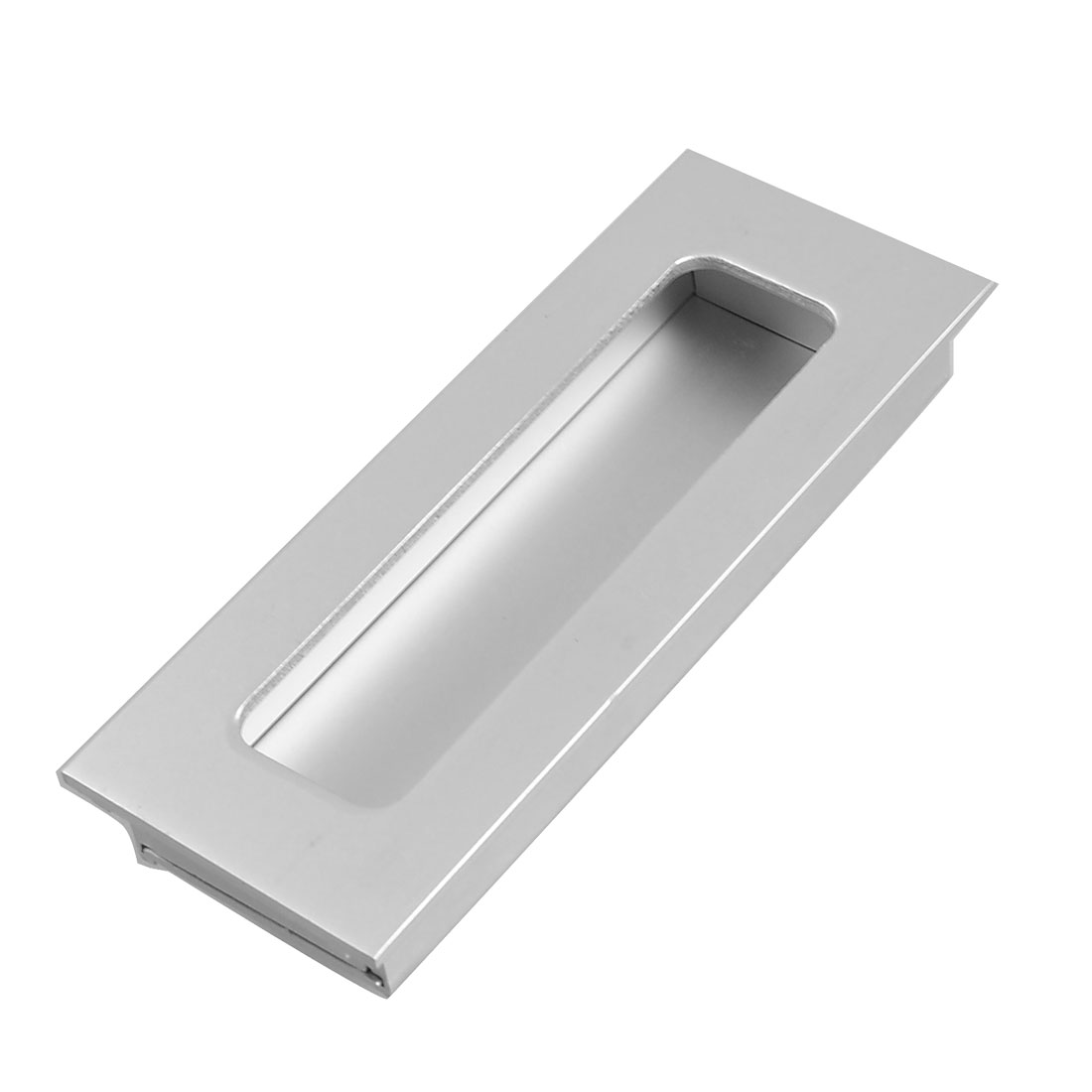 "Cabinet Silver Tone Aluminum 4.4"" Long Rectangular Flush Pull Handle"