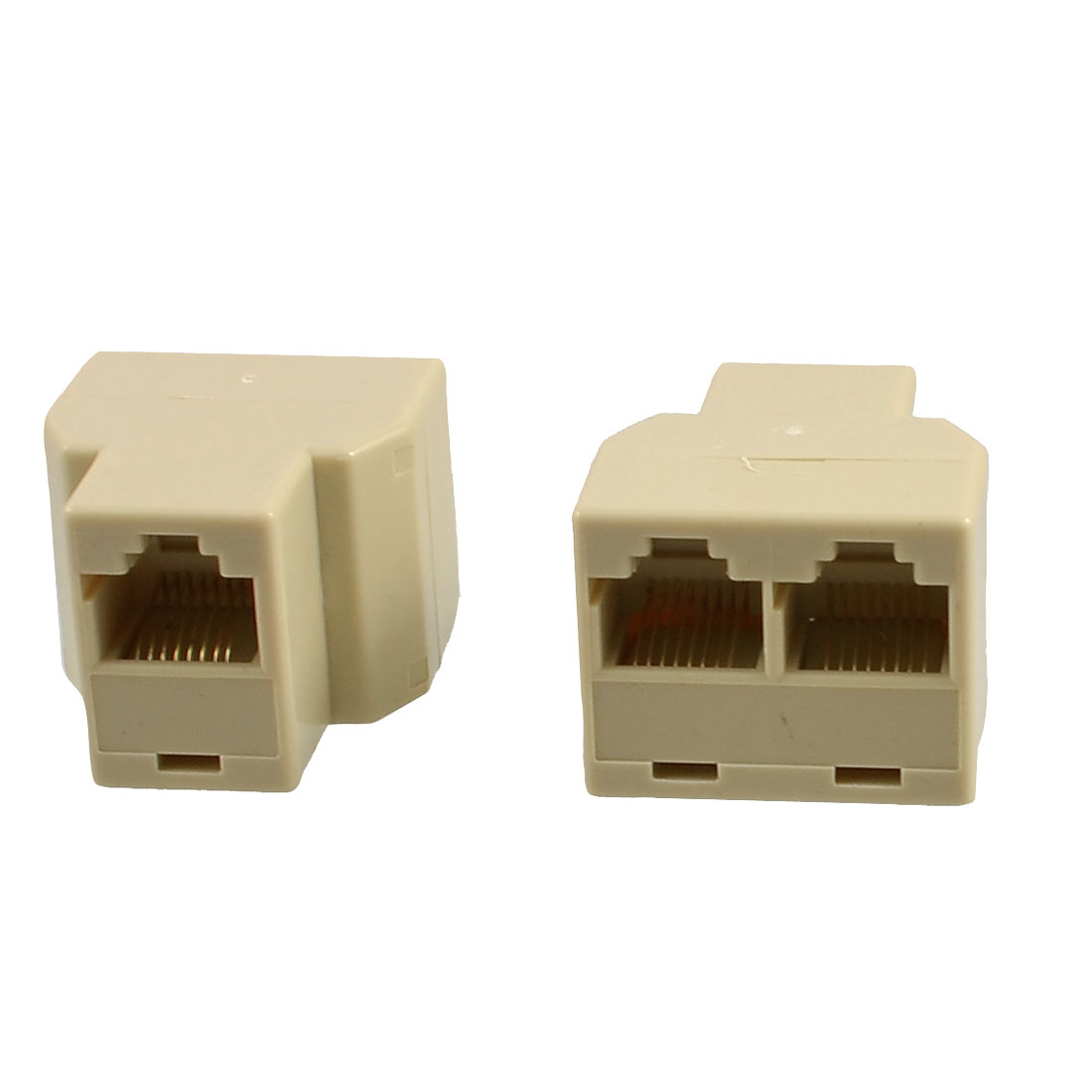 2 Pcs Telephone ADSL Modem RJ45 8P8C Plug Line Splitter Filter White