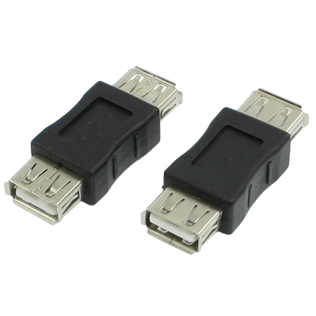 2 Pcs Computer Black USB Type A Female to Female Plug Adapter Connectors