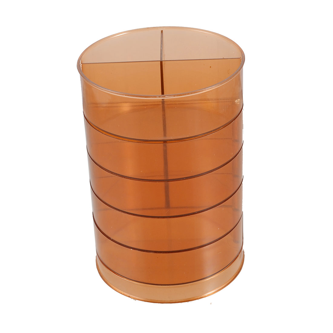 Five Layer Coffee Color Cylinder Shape Holder Rotatable Pen Container