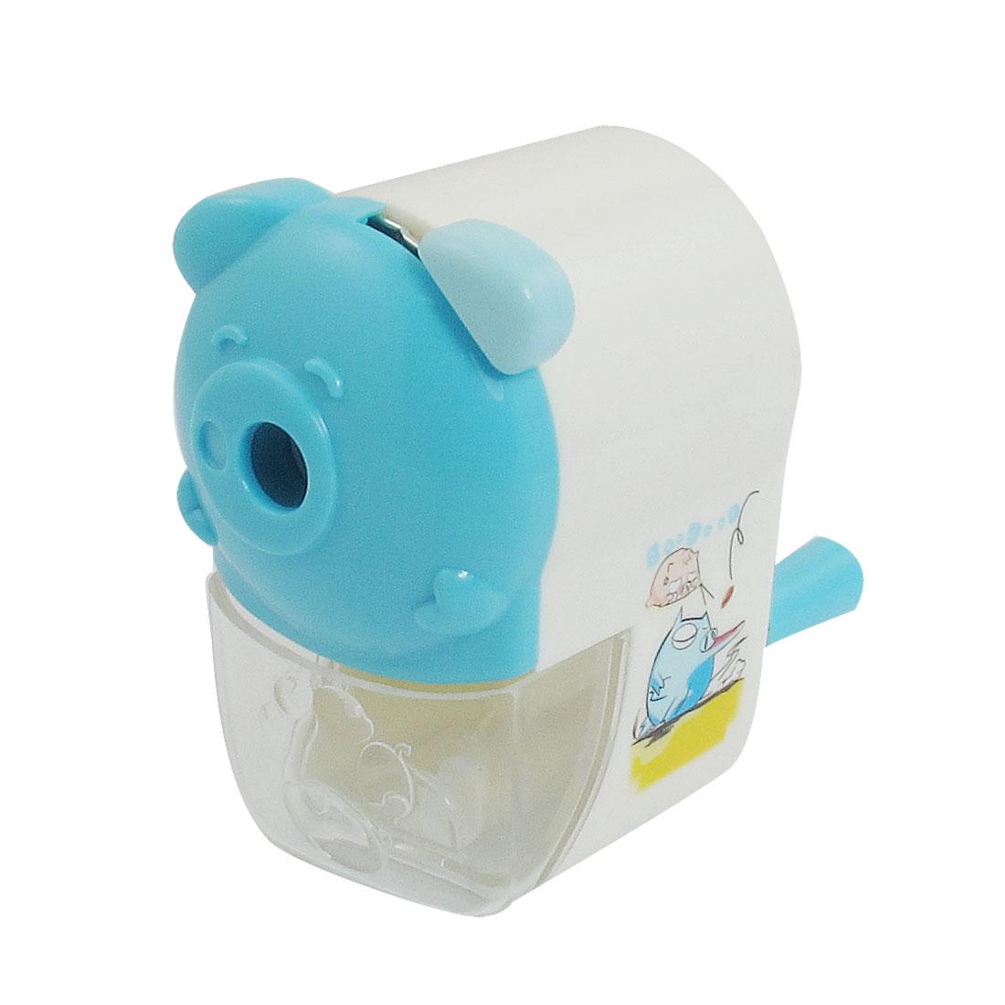 Cartoon Pig Pattern Blue White Plastic Shell Hand Rotating Pencil Sharpener