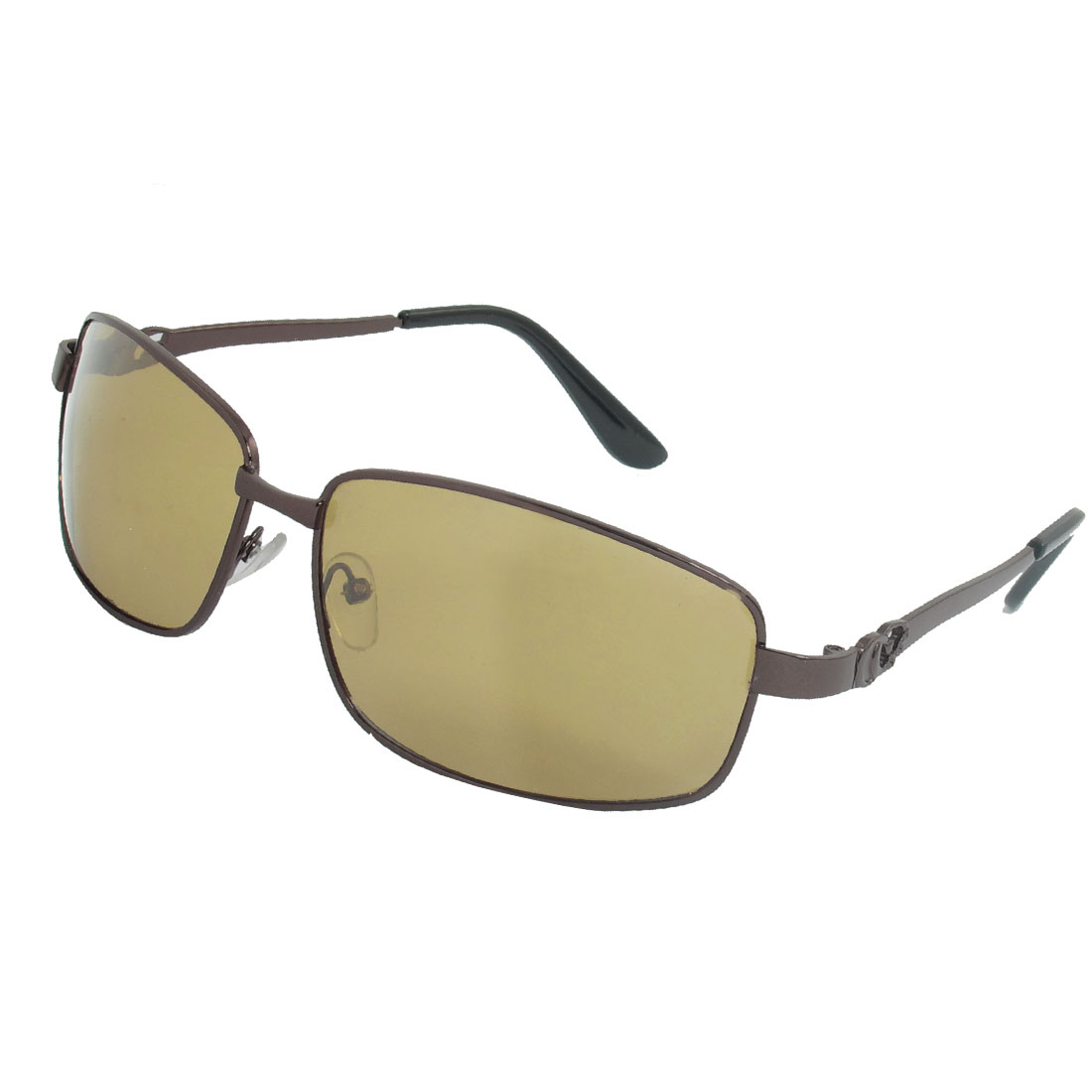 Men Rectangle Colored Lens Full Rim Polarized Sunglasses Coffee Color