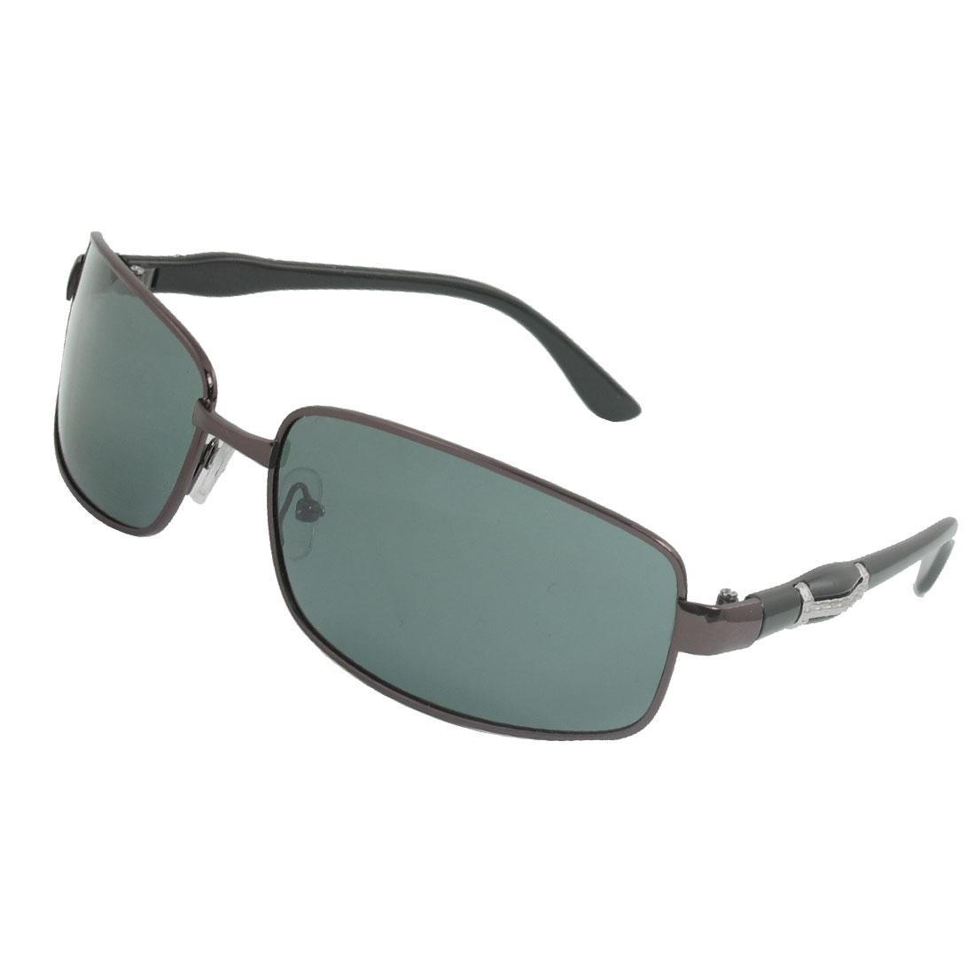 Men Coffee Color Metal I Decor Plastic Arms Sports Polarized Sunglasses
