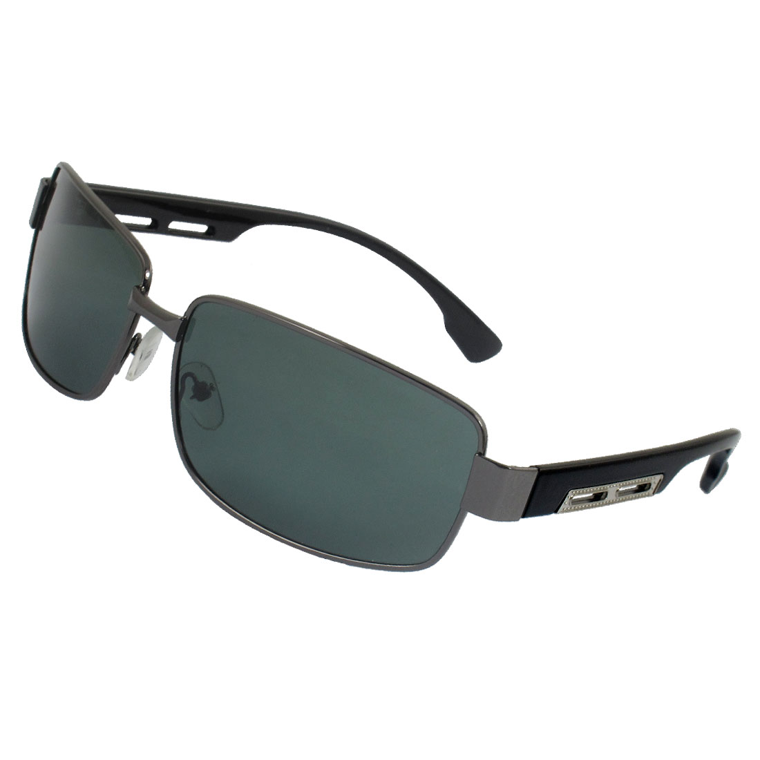 Men Dark Gray Full Rim Metal Decor Plastic Arms Polarized Sunglasses