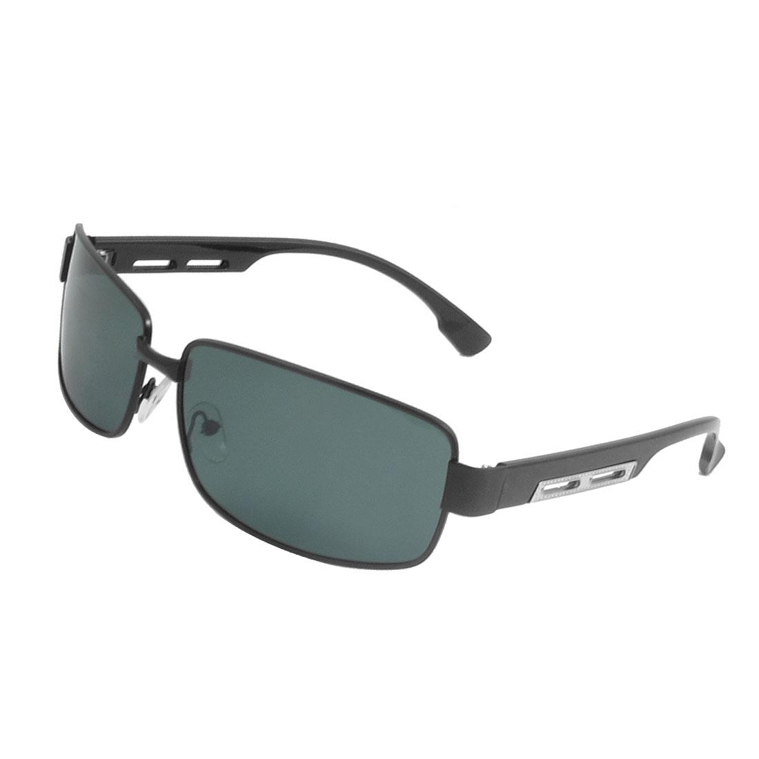 Men Black Full Rim Metal Decor Plastic Arms Polarized Sunglasses