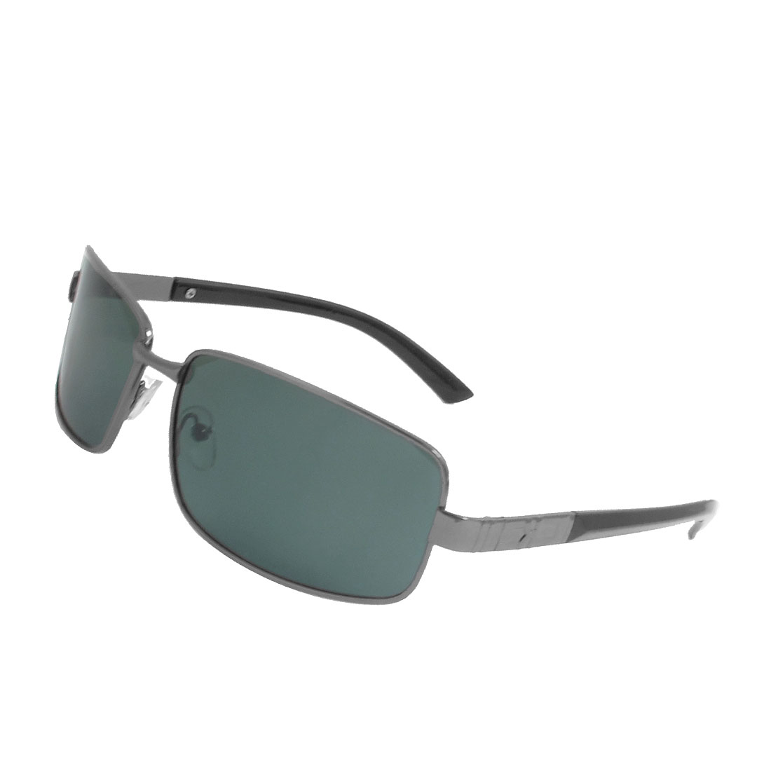 Men Dark Gray Plastic Arms Polarized Eyewear Sunglasses w Bag