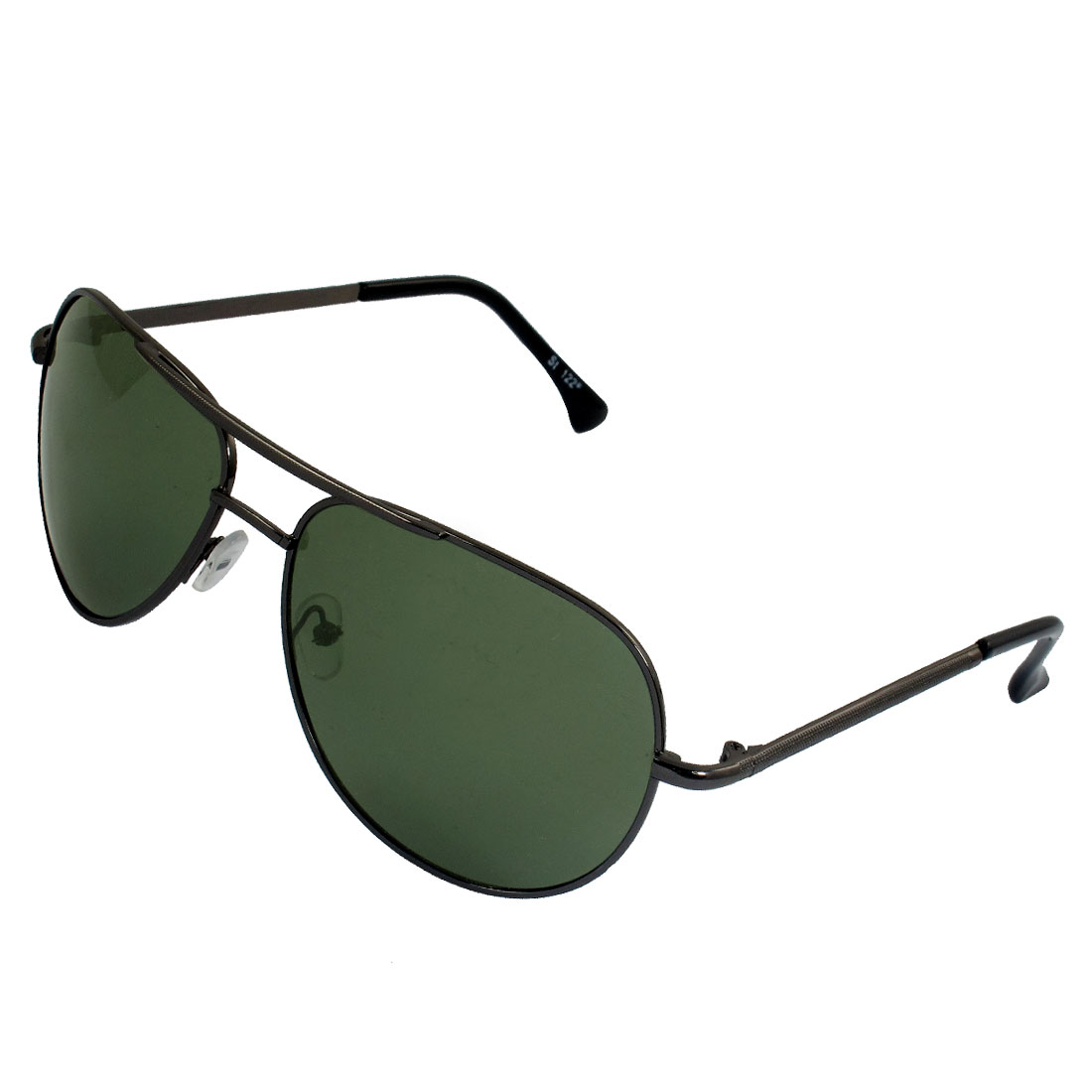 Men Dark Gray Textured Plastic Tip Arms Double Bridge Polarized Sunglasses