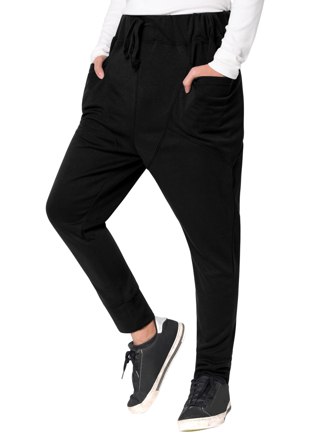 Mens Black Casual NEW Stylish Drawstring Elastic Waist Baggy Straight Pants Trousers W32/34