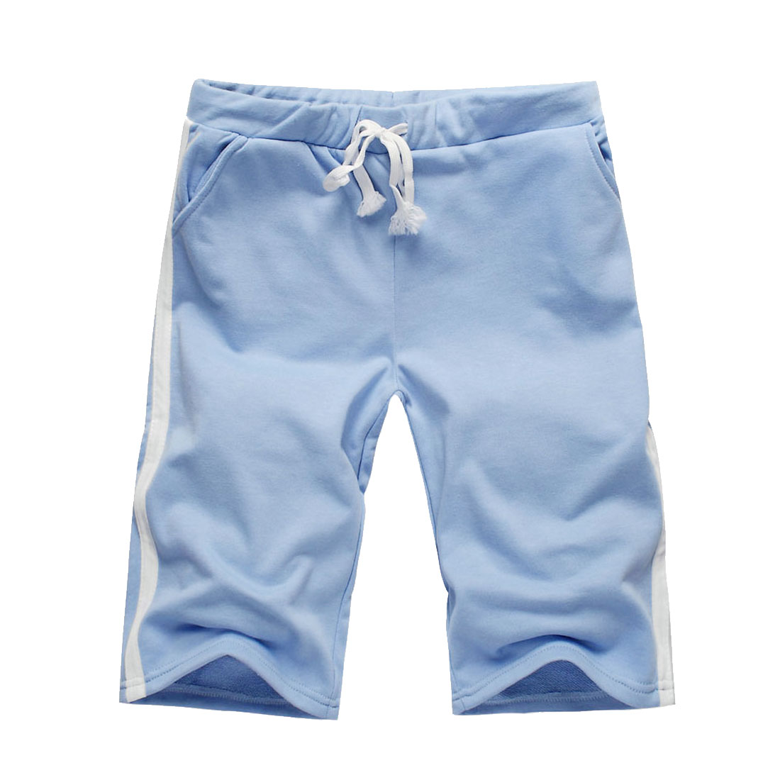Mens Light Blue Casual Sports Summer Rope Drawstring Short Trousers Pants Shorts XL 616-K54/S (W29)