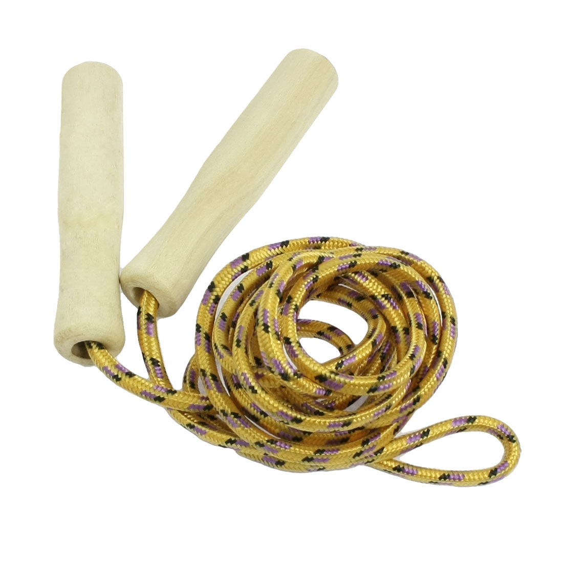Sports Wooden Handle 2.3M Skipping Jump Rope Yellow Purple Black