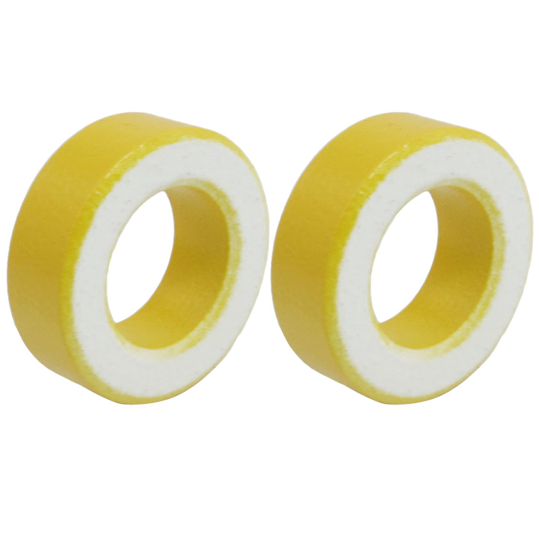 2 Pcs 33mm x 19mm x 11mm Yellow White Iron Core Ferrite Rings Toroid