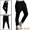 Mens NEW Stylish Drawstring Elastic Waist Baggy Straight Pants Black W32/34