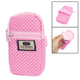 Pink Dot Pattern Zippered Closure Fabric Cell Phone Pouch Case
