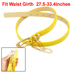 Ladies Gold Tone Singe Pin Buckle Yellow Faux Leather Belt