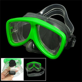 Green Clear Plastic Frame Adjustable Headstrap Adults Swimming Goggles