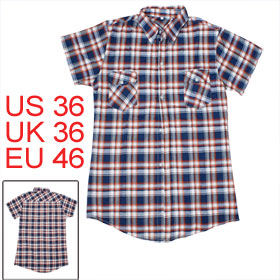 Mens Red Dark Blue Multi-check Casual Plaid Summer 2012 NEW Fashion Shirt Tops S