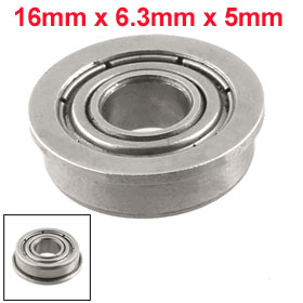 Silver Tone Metal 16mm x 6.5mm x 5mm Shield Ball Bearing