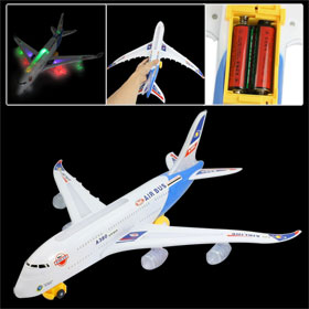 Children Plastic 3 Pieces 1.5V AA Battery Powered Air Bus Airplane Model Toy