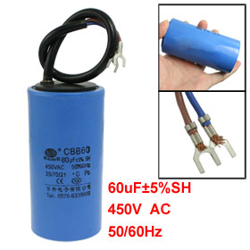 CBB60 AC 450V 50/60Hz Cylinder Motor Start Capacitor Blue