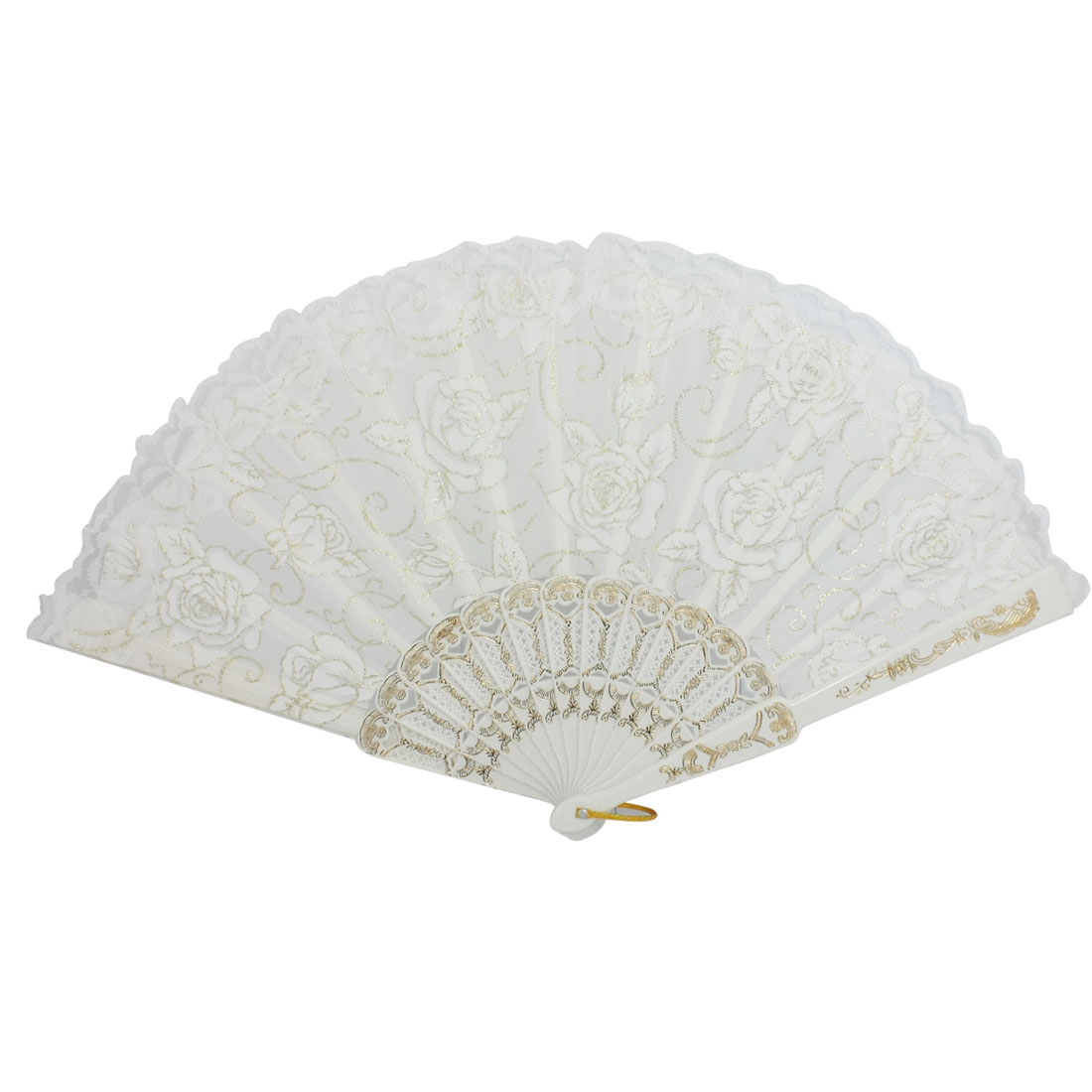Women White Lace Trim Plastic Ribs Peony Flower Cloth Folding Hand Fan