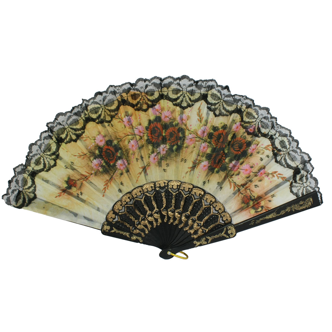 Ladies White Lace Chrysanthemum Printed Cloth Folding Hand Fan Black