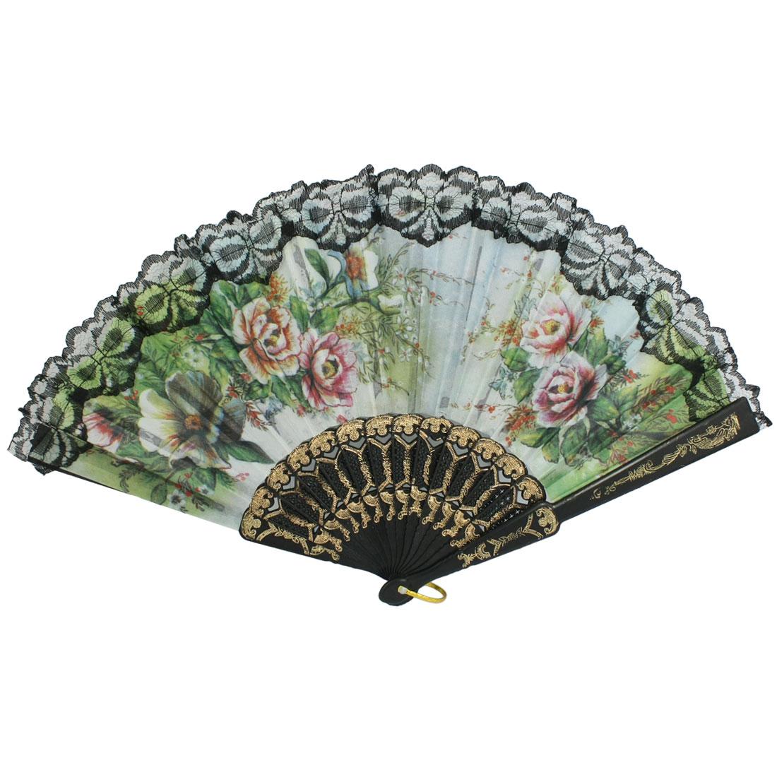 Powder Detail Black Plastic Ribs Peony Flower Green Cloth Folding Hand Fan