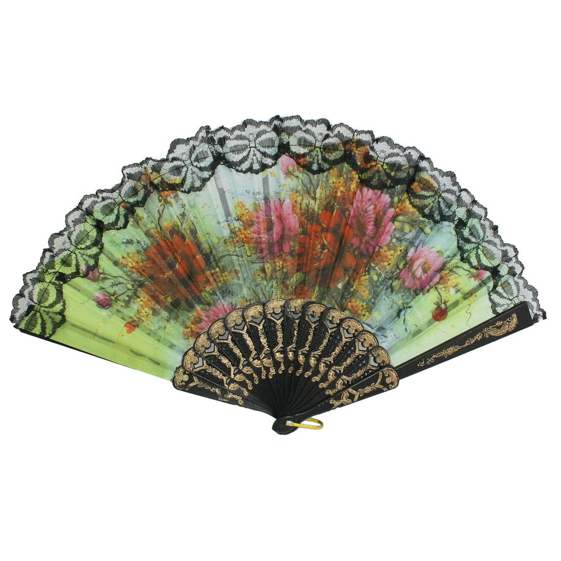Peony Flower Print Rib Lace Trim Dancing Hand Fan Lemon Green Black w D Ring